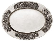 oval tray w/flower dec.