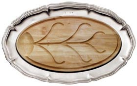 Oval carving platter with insert