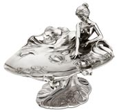 footed tray - young lady and water lilies