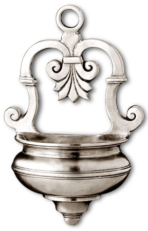 Holy water stoup cm 12x18 (Pewter) - collection: Segesta. Cosi Tabellini.