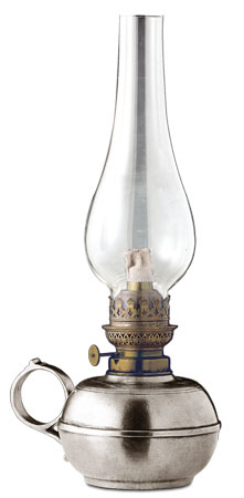 Kerosene table lamp, grey, Pewter and Glass, cm h 30
