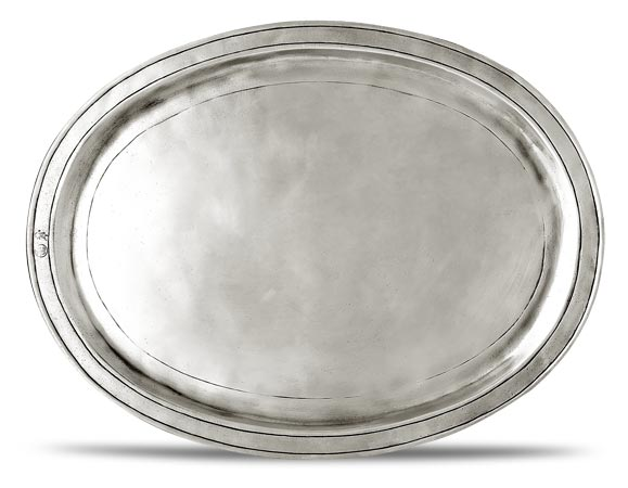 Oval incised tray, grey, Pewter, cm 38x28