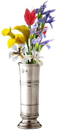 Footed cylinder vase cm h 17 (Pewter) - collection: Piemonte. Cosi Tabellini.