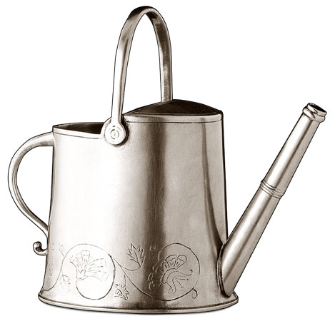Watering can oval cm h 19,5 (Pewter) - collection: Zefiro. Cosi Tabellini.