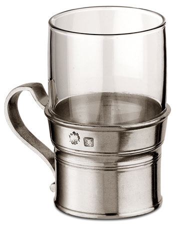 Tankard, grey, Pewter and Glass, cm h 10 x cl 22,5