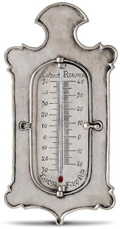 Thermometer, grey, Pewter and Glass, cm 11xh27
