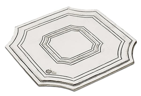Octagonal trivet cm 13,5x13,5 (Pewter) - collection: Arezzo. Cosi Tabellini.