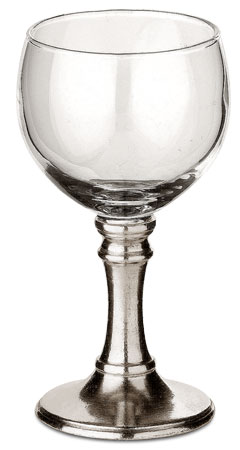 Sherry glass cm h 11,5 x cl 9,5 (Pewter, Glass) - collection: Tosca. Cosi Tabellini.