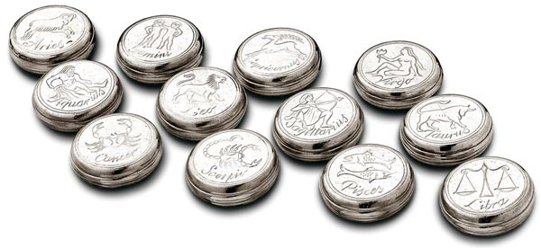 Set of 12 zodiac boxes cm Ø 5 (Pewter) - collection: Rodo'. Cosi Tabellini.