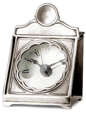 Deskclock with lens cm 9x8 (Pewter, Glass) - collection: Volterra. Cosi Tabellini.