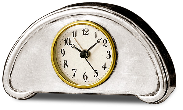 Desk alarm clock cm 13x7 (Pewter, Glass) - collection: Luna. Cosi Tabellini.