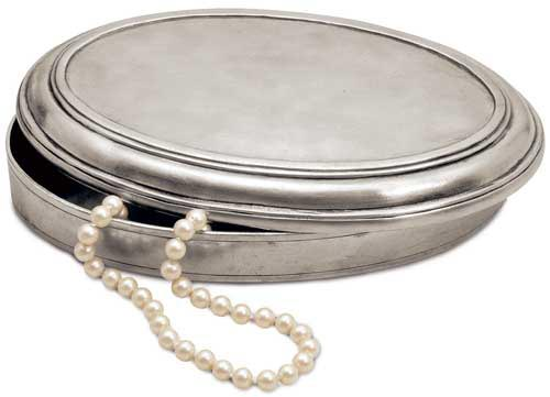 Oval box, grey, Pewter, cm 16x10