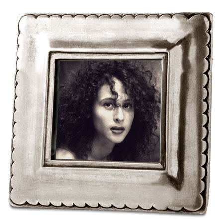 Square pictureframe, sm. cm 10,5xh10,5 - photo format 7x7 (Pewter, Glass) - collection: Trentino. Cosi Tabellini.