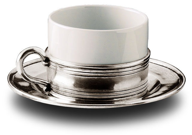 Cappuccino - tea  with saucer cm Ø 8,5 (Pewter, Ceramic) - collection: Todi. Cosi Tabellini.