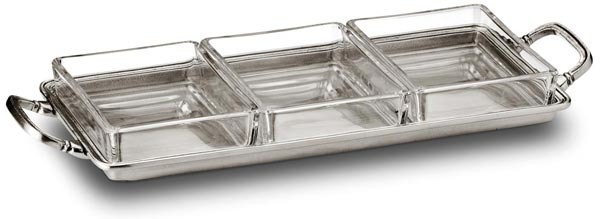 Crudites tray, grey, Pewter and Glass, cm 29x13,5