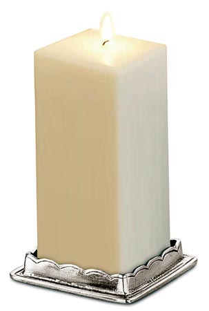 Square candle holder cm 5x5 (Pewter) - collection: Onoro. Cosi Tabellini.
