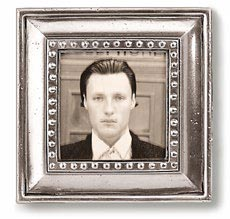 Square picture frame, sm cm 11x11 - photo format 7x7 (Pewter, Glass) - collection: Veneto. Cosi Tabellini.