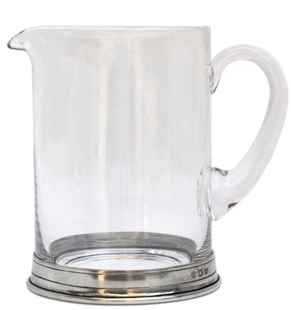 Pitcher, grey, Pewter and lead-free Crystal glass, cm h 16 lt 1