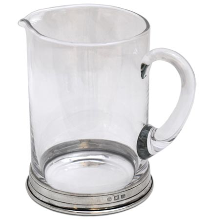 Pitcher cm h 16 lt 1 (Pewter, lead-free Crystal glass) - collection: Sirmione. Cosi Tabellini.