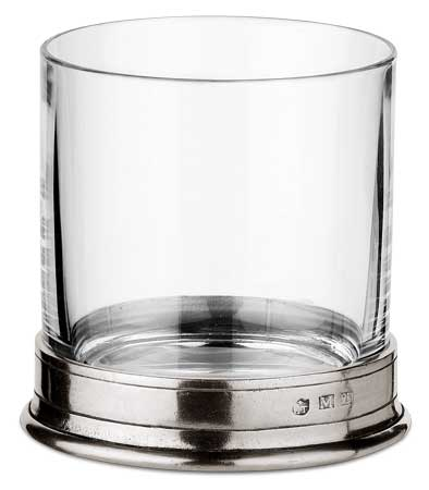 Double old fashioned glass, grey, Pewter and lead-free Crystal glass, cm h 9,7 cl. 42