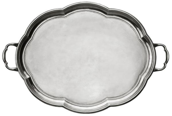Oval tray with handles, grey, Pewter, cm 50 x 40