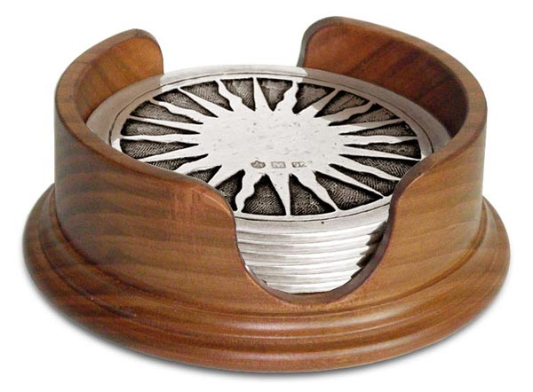 Round coaster set cm Ø 9,5 (Pewter, Wood) - collection: Sole. Cosi Tabellini.