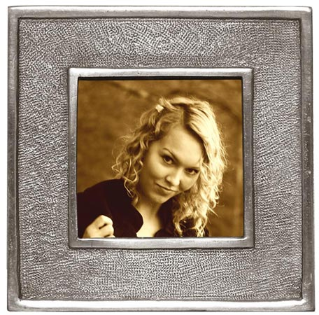 Square pictureframe, sm cm 10,5x10,5 - photo format 7x7 (Pewter, Glass) - collection: Lombardia 2. Cosi Tabellini.