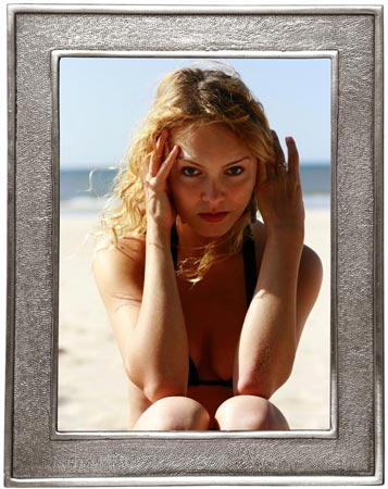 Rectangular picture frame, lg cm 17,5x22 - photo format 13x18 (Pewter, Glass) - collection: Lombardia 2. Cosi Tabellini.