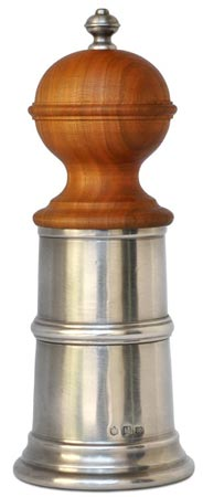Pepper mill cm h 20,5 (Pewter, Wood) - collection: Todi. Cosi Tabellini.