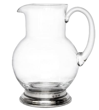 Glass pitcher, grey, Pewter and lead-free Crystal glass, cm h 22,5  lt 1,5