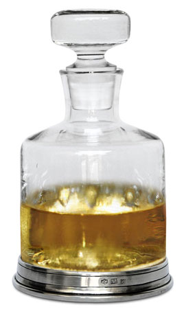Whisky decanter cm h 21 l 1 (Pewter, lead-free Crystal glass) - collection: Sirmione. Cosi Tabellini.