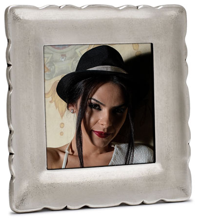 Square pictureframe, sm cm 9,5x9,5 - photo format 7x7 (Pewter, Glass) - collection: Carretti. Cosi Tabellini.
