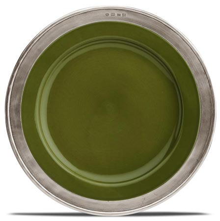 Dinner plate - green, grey and green, Pewter and Ceramic, cm Ø 27,5