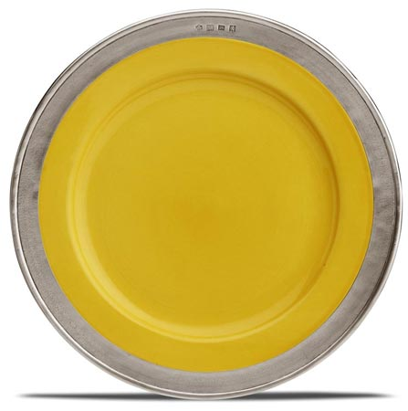 Dinner plate - gold cm Ø 27,5 (Pewter, Ceramic) - collection: Convivio. Cosi Tabellini.
