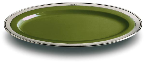 Oval serving platter - green, grey and green, Pewter and Ceramic, cm 57x38