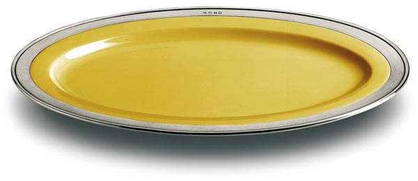 Oval serving platter - gold, grey and yellow, Pewter and Ceramic, cm 57x38