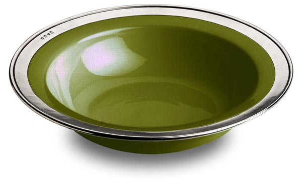 Round serving bowl - green, grey and green, Pewter and Ceramic, cm Ø 39,5