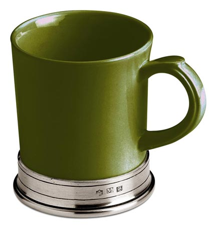 Green ceramic mug cm h 10,5 x cl 40 (Pewter, Ceramic) - collection: Convivio. Cosi Tabellini.