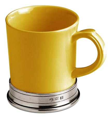 Yellow ceramic mug cm h 10,5 x cl 40 (Pewter, Ceramic) - collection: Convivio. Cosi Tabellini.