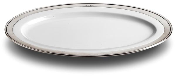 Oval platter, grey and White, Pewter and Ceramic, cm 37x27