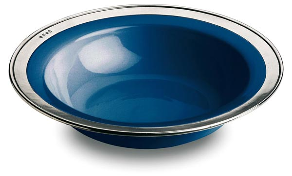 Round serving bowl - blue, grey and blue, Pewter and Ceramic, cm Ø 30
