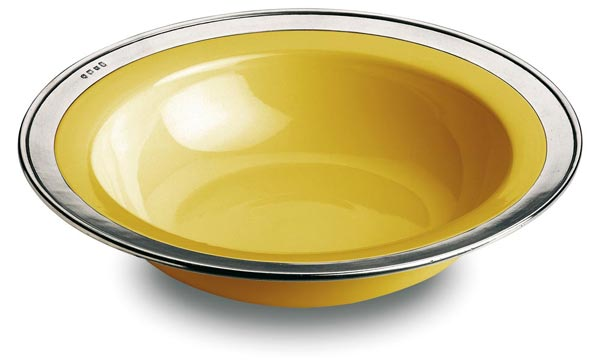 Round serving bowl - gold, grey and yellow, Pewter and Ceramic, cm Ø 30