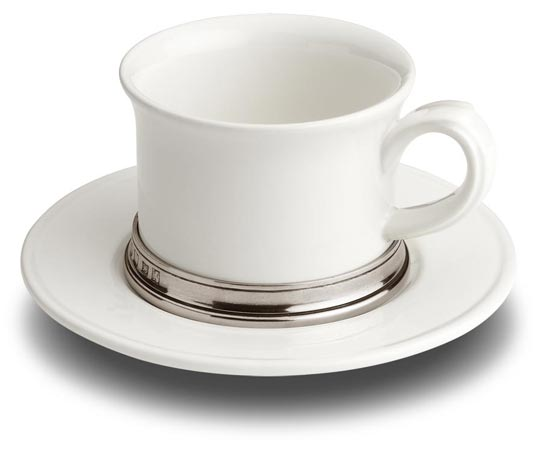 Tea cup with saucer cm h 7 x cl 30 (Pewter, Ceramic) - collection: Convivio. Cosi Tabellini.