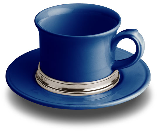 Tea cup with saucer - blue, grey and blue, Pewter and Ceramic, cm h 7 x cl 30