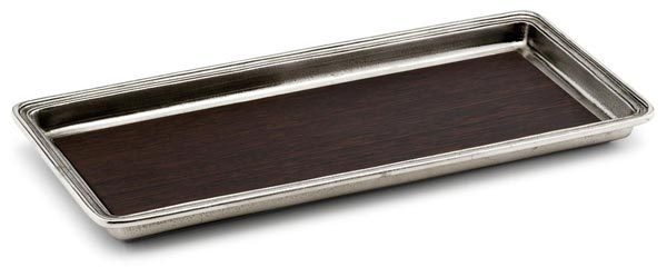 Vanity tray (wenge), grey and brown, Pewter and Wood, cm 28,5x13,7x h 2,5
