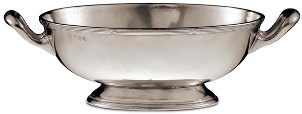 Oval footed bowl, grey, Pewter, cm 25x20
