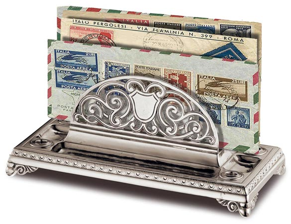Paper holder cm 27 x 13,5 x h 11 (Pewter) - collection: Melisso. Cosi Tabellini.