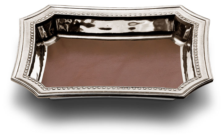 Pocket change tray with leather insert cm 21,5 x 17 (Pewter) - collection: Veneto. Cosi Tabellini.