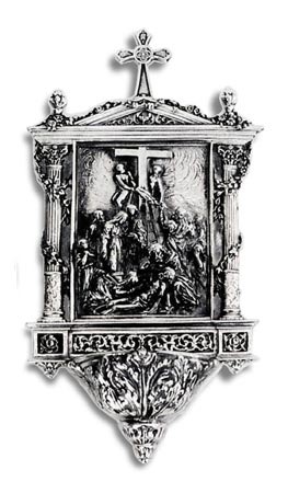 Holy water stoup - Entombment of Christ cm 25 (Pewter) - collection: Deposizione. Cosi Tabellini.
