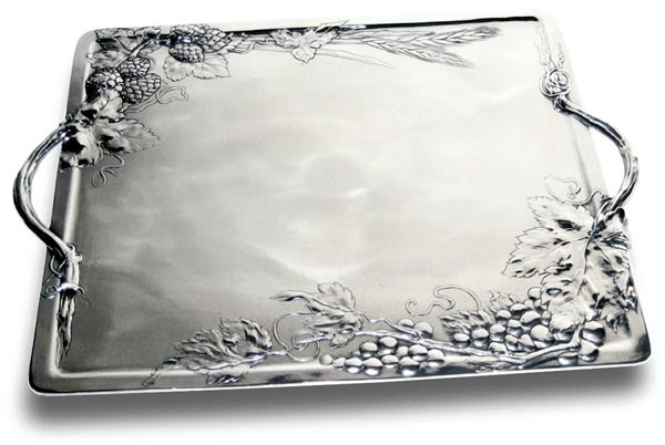 Tray with grapes and hops cm 38x27 (Pewter / Britannia Metal) - collection: Vino. Cosi Tabellini.